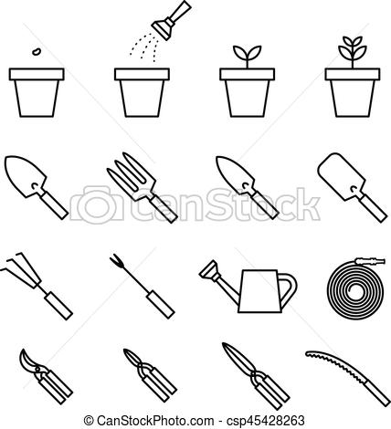 Garden tool and plant icon set black and white color isolated on white  background.