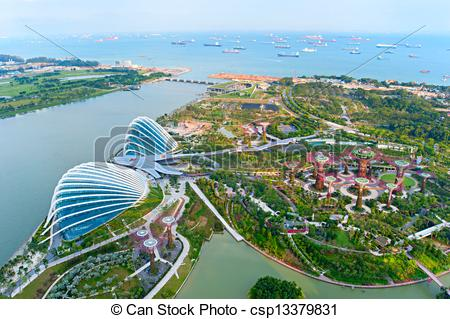 Stock Photos of Gardens by the Bay bird's eye view.