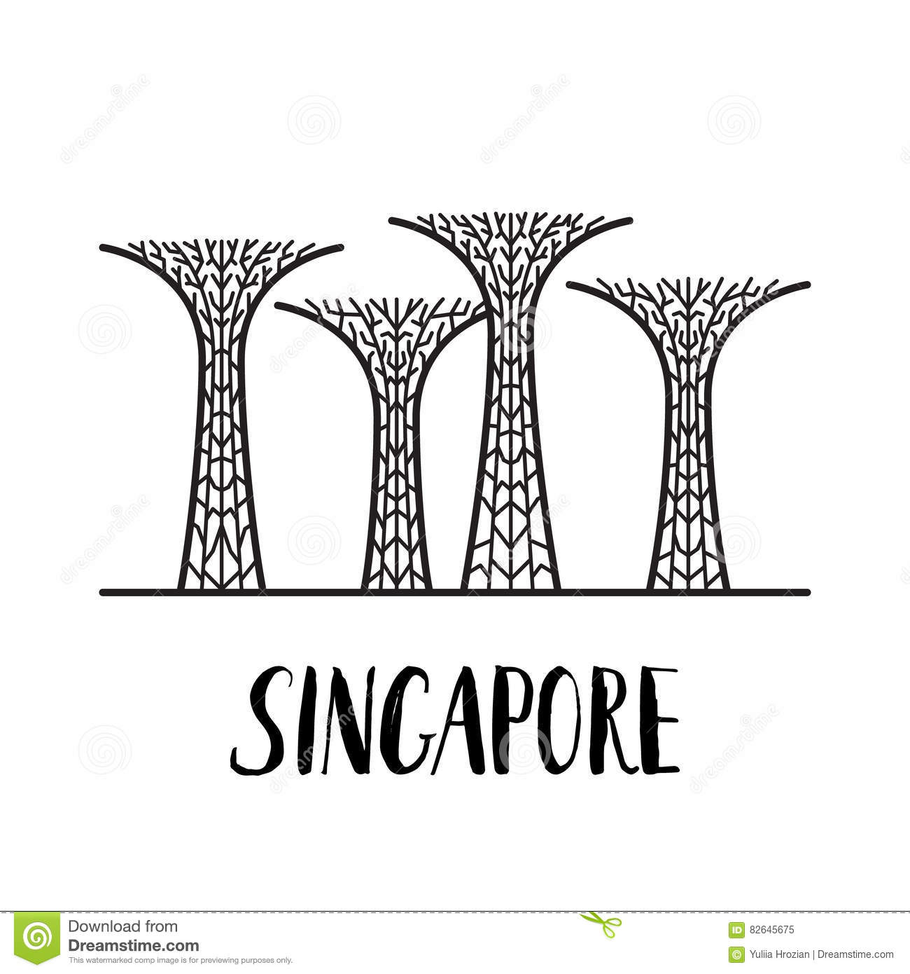 Famous Singapore Landmark Gardens By The Bay With Modern Lettering.