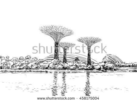 Singapore Gardens By Bay Unusual Perspective Stock Vector.