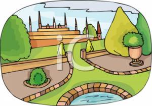 Clipart Picture of a Large, Fancy Garden.