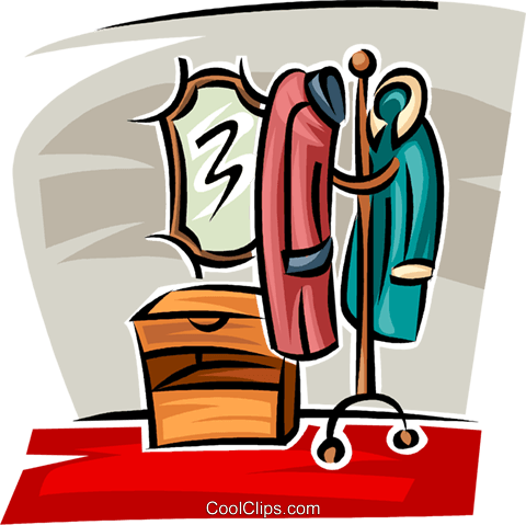 coat rack in the hall Royalty Free Vector Clip Art illustration.
