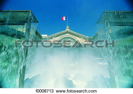 Stock Photo of France, Marseilles, Gare de l'Est, fountain.