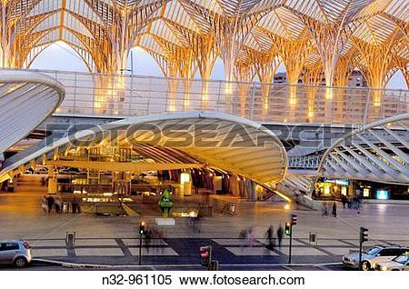 Stock Image of Oriente railway station by Santiago Calatrava at.