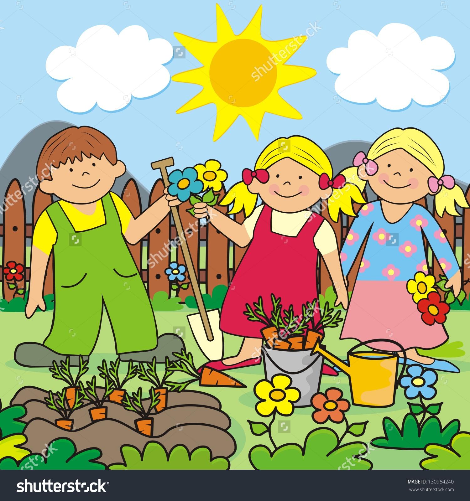 Kids planting garden clipart free.