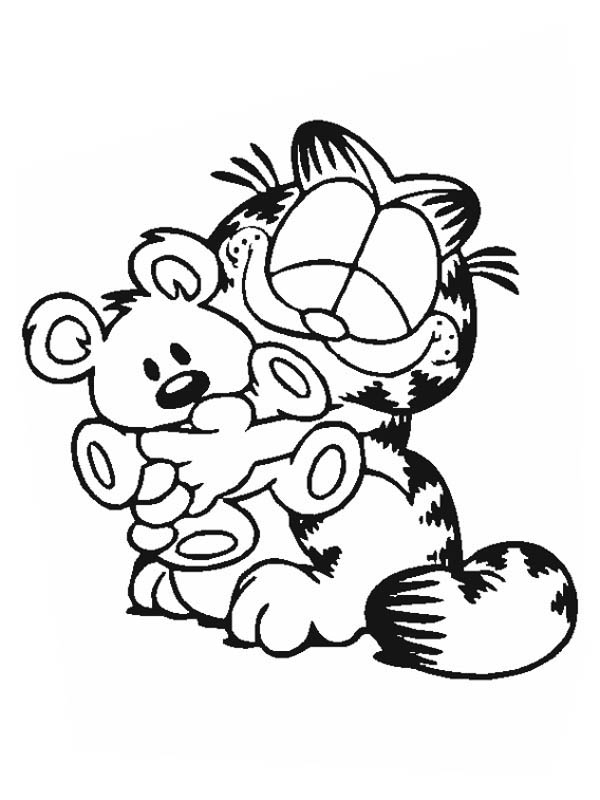 Garfield Hug Pooky Bear Coloring Page.
