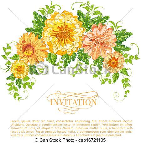 Vector Clipart of Chrysanthemum garland..