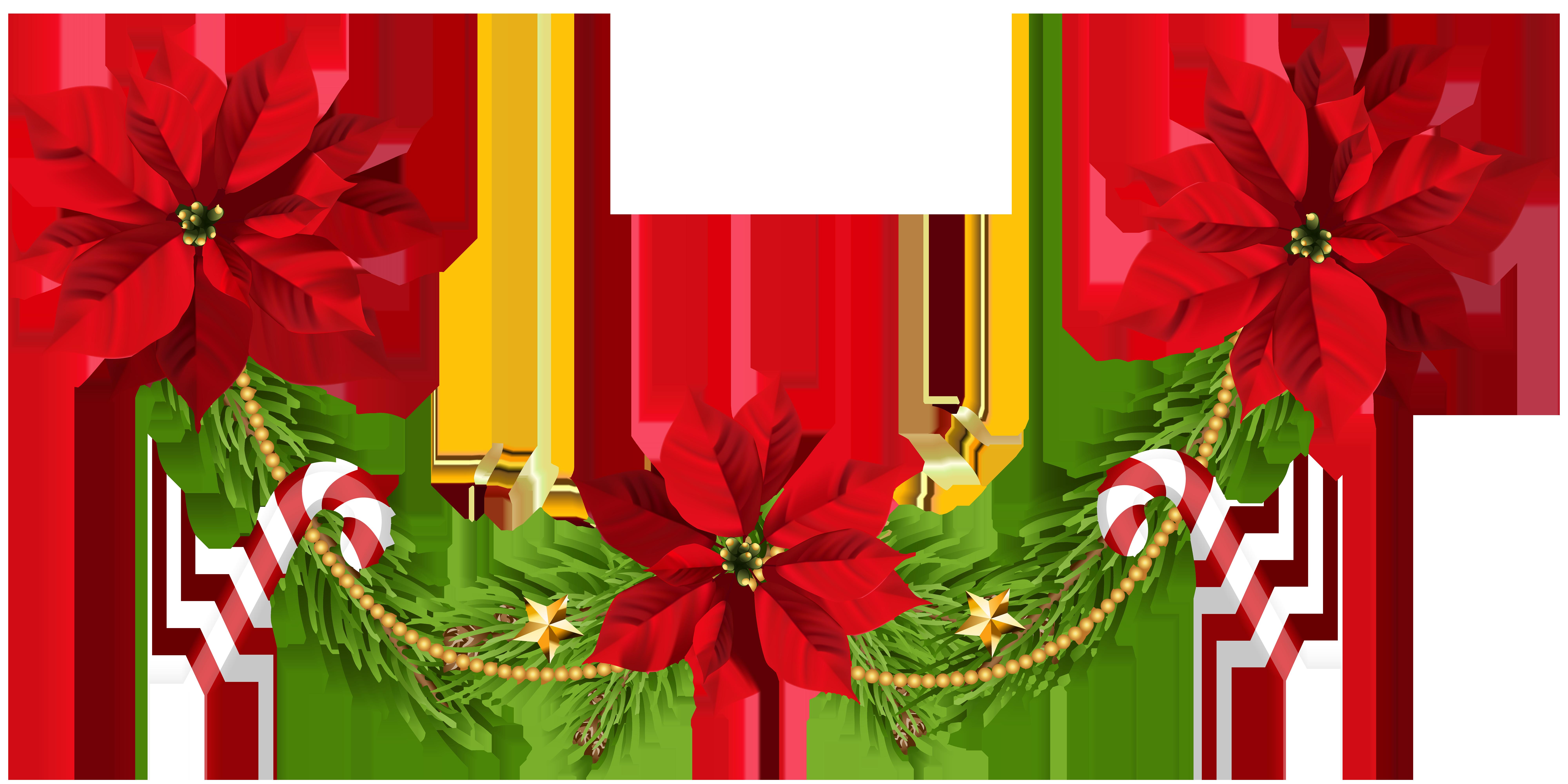 Christmas Poinsettias Garland Clip Art PNG Image.