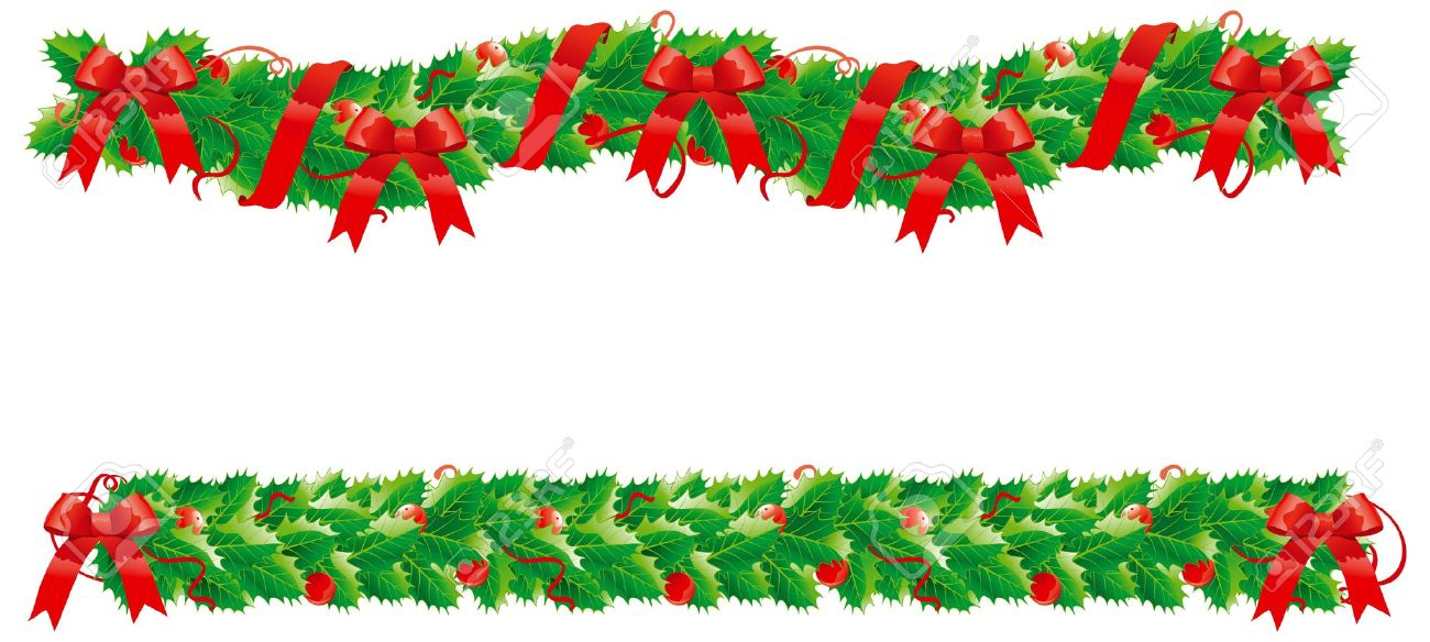 Christmas holly garland clipart.