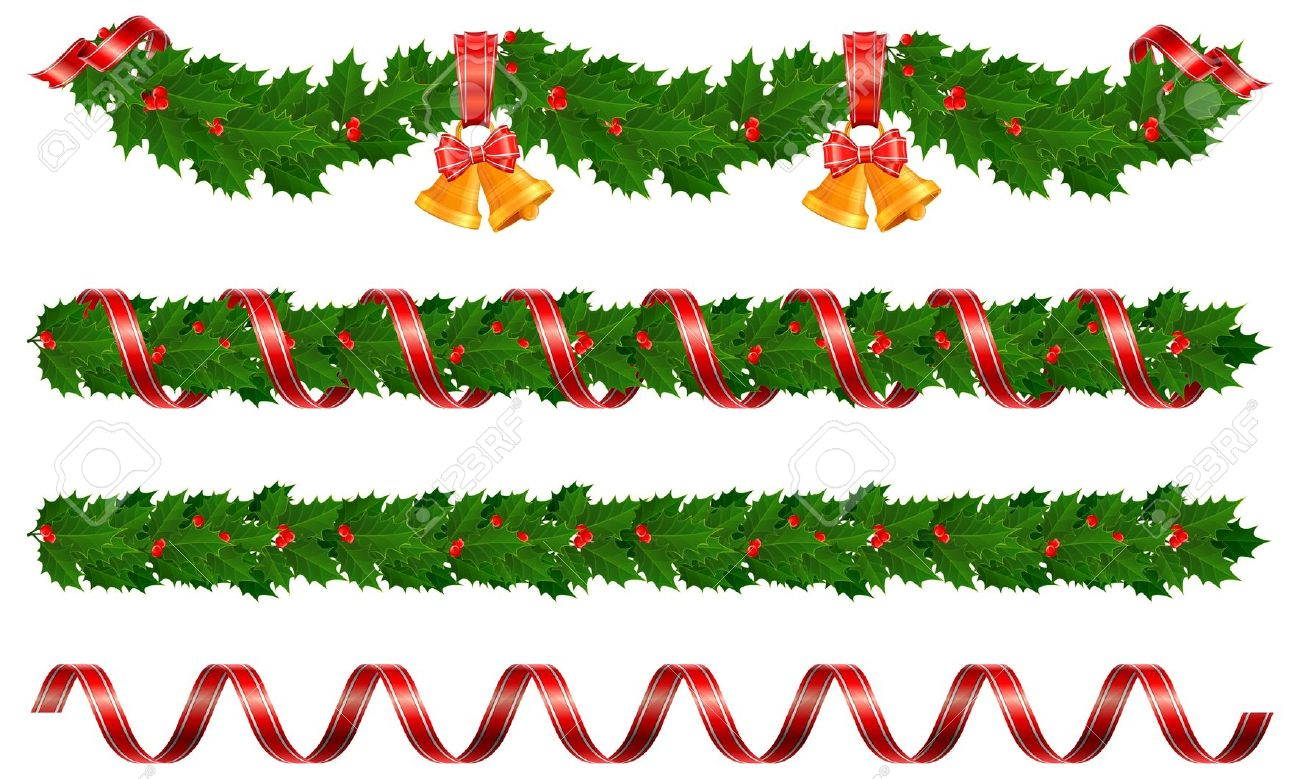 Holly garland clipart free.