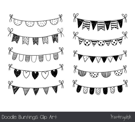 Hand drawn doodle bunting clipart, Black and white flag clip art.
