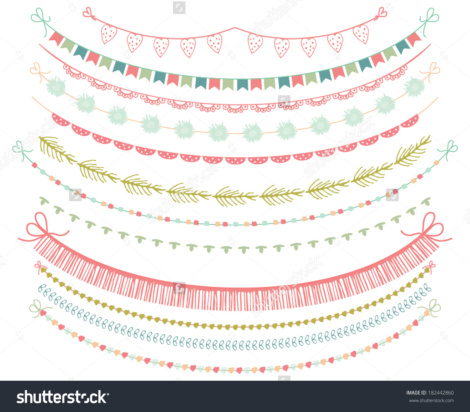Garlands Bunting Flags Clipart On White Stock Vector 182442860.