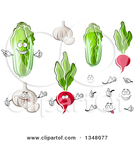 Clipart of Cartoon Cabbage, Garlic and Radishes.