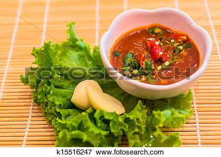 Picture of red chili and garlic sauce k15516247.