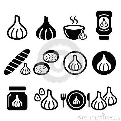Garlic, Food Icons Set.