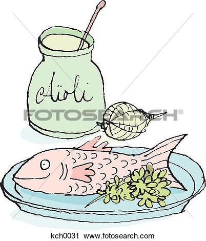 Clipart of Fish and aioli garlic sauce kch0031.