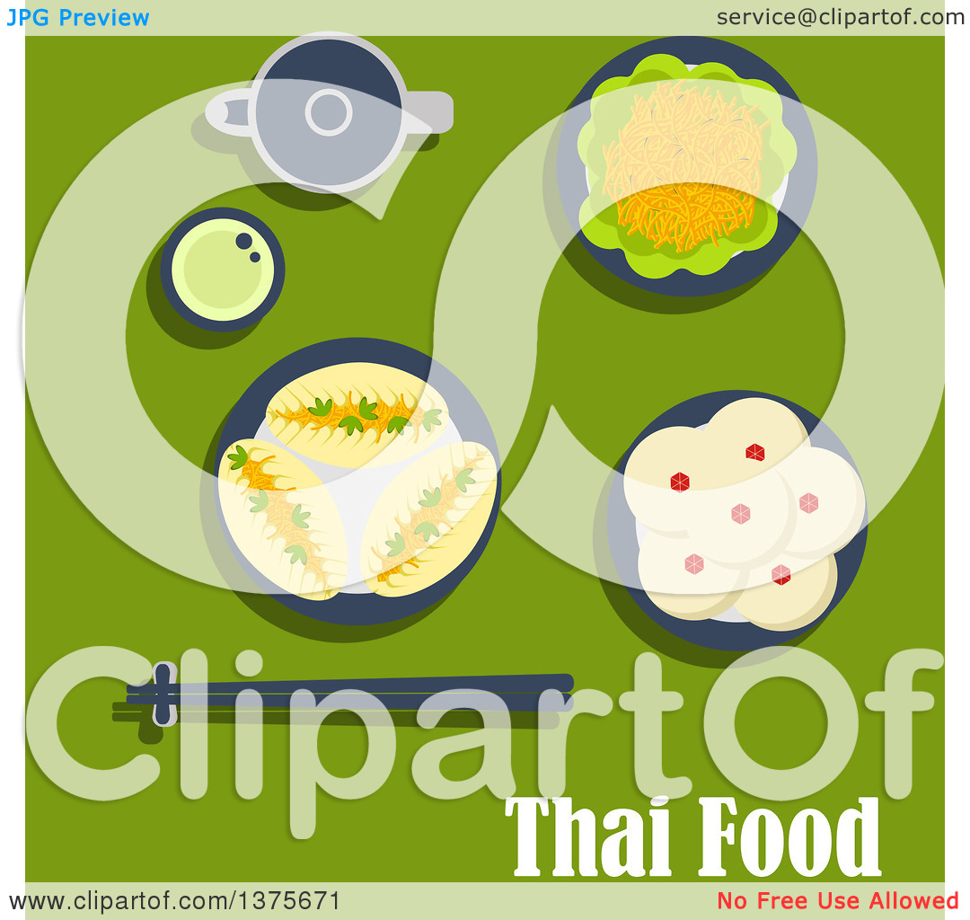 Clipart of a Flat Design Thai Meal of Lunch with Spicy Carrot.