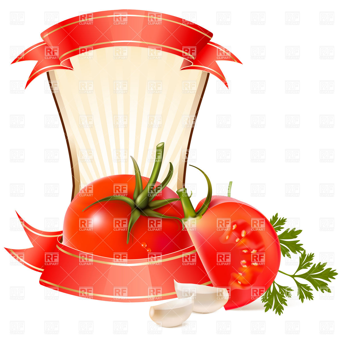 Label for a product (ketchup, sauce) with tomato and garlic Vector.