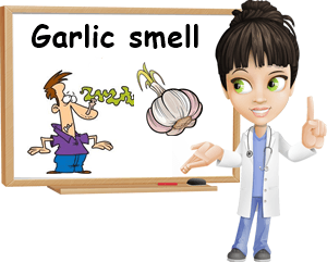Garlic smell on skin.