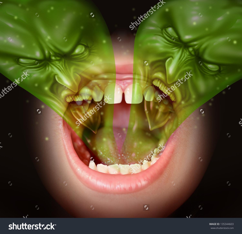 Bad Breath Garlic Smell Inside Human Stock Illustration 135344603.