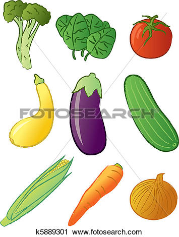 Clipart of Cabbage, spinach, eggplant and garlic k16156743.