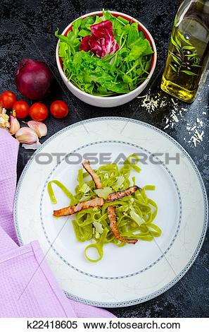 Stock Image of Italian spinach pasta with organic garlic k22418605.