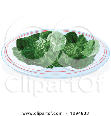 Clipart of a Plate of Baby Spinach Leaves.