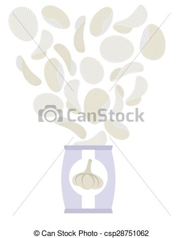 Clip Art Vector of Potato chips taste of garlic. Packaging, bag of.