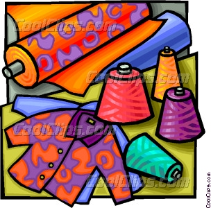 Fabrics and garments Vector Clip art.