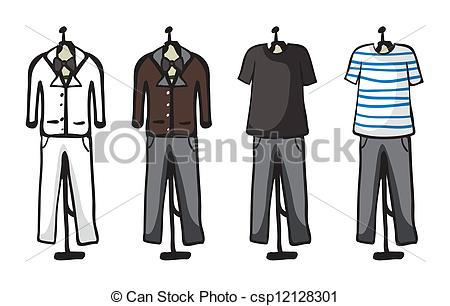 Vector Clipart of Various garments of male.