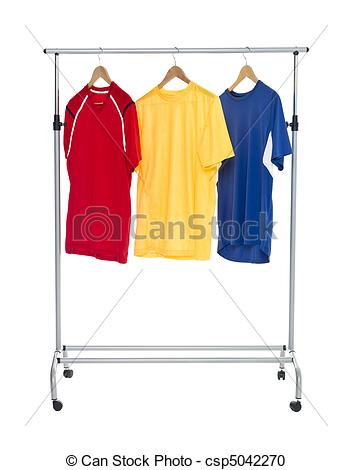 Stock Photography of Colored Shirts on a Clothes Rack.