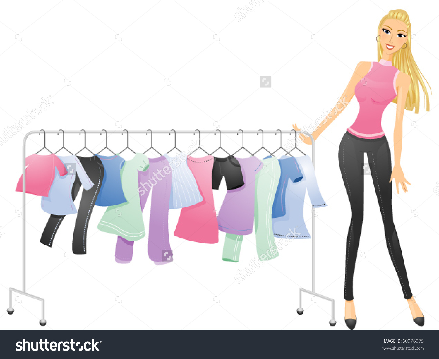 Curvy Woman Pushing Movable Rack Clothes Stock Vector 60976975.