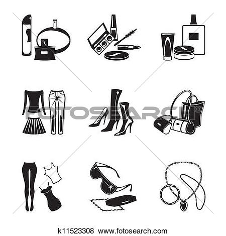 Clip Art of Women's fashion garments k11523308.
