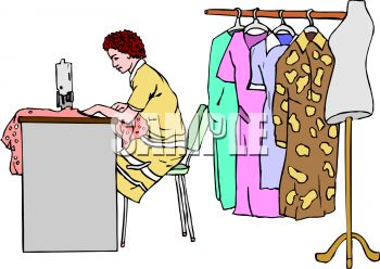 Royalty Free Clipart Image: Seamstress Sewing Clothes.