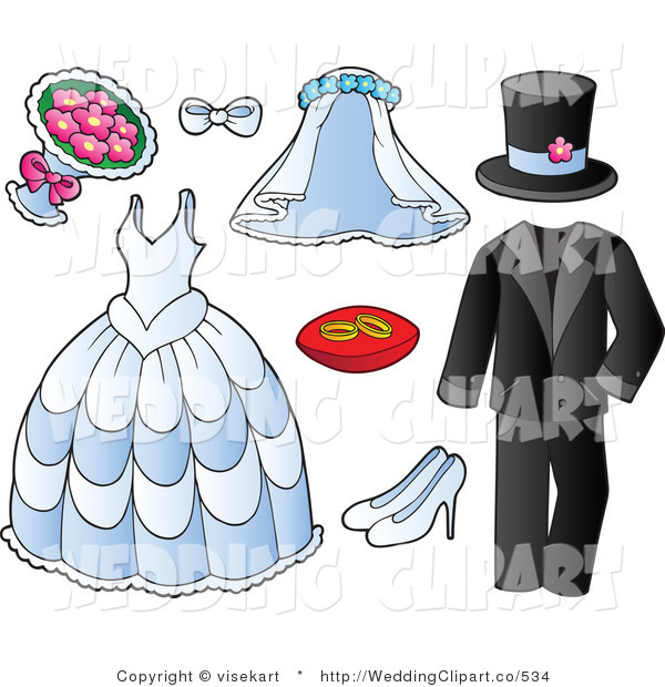 Vector Marriage Clipart of Wedding Garments and Accessories by.