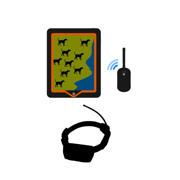 Clipart of a hunting dog with a garmin collar.