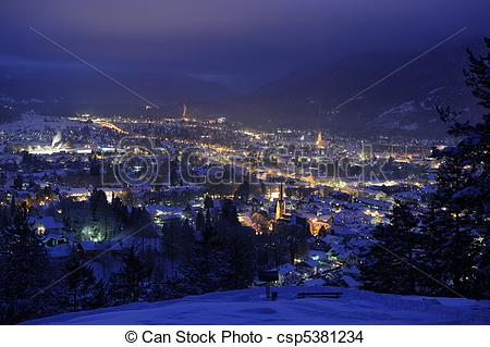 Stock Photo of city garmisch at night.
