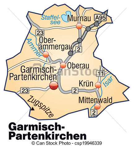 Vectors of Map of Garmisch.