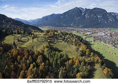 """Stock Image of """"Townscape of Garmisch, Garmisch."""