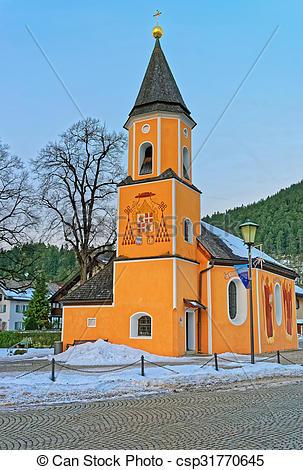 Stock Photo of Chapel of St. Sebastian in Garmisch.