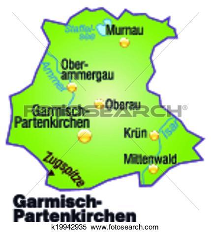 Clipart of Map of Garmisch.