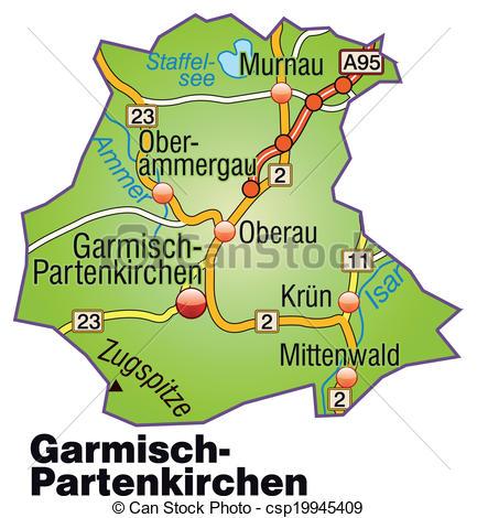 Vector Clipart of Map of Garmisch.