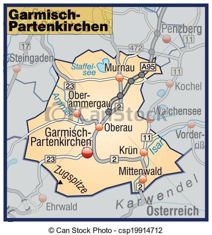 Vector Clip Art of Map of Garmisch.