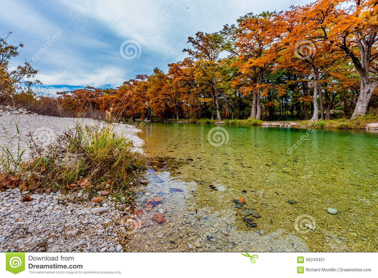 The Crystal Clear Frio River At Garner State Park. Stock Photo.