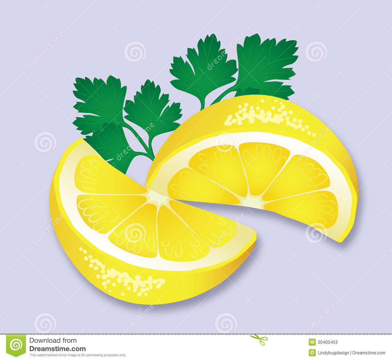 Lemon And Parsley Garnish Stock Photos.