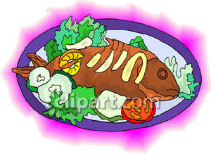 Fish On A Plate With Garnish.