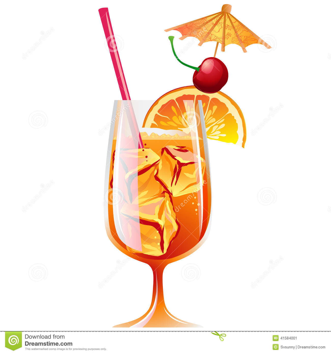 Cocktail Bahama Mama With Ice And Garnish Stock Vector.
