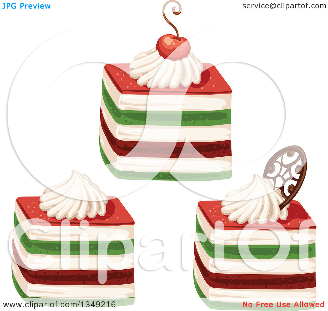 Clipart of Red Cream and Green Layered Cakes Garnished with a.