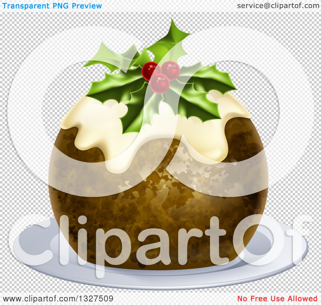 Clipart of a 3d Christmas Pudding Cake Garnished with Holly and.