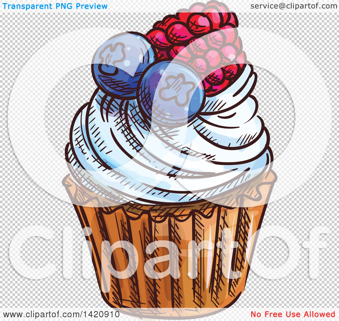 Clipart of a Sketched and Color Filled Cupcake Garnished with.